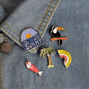Cartoon Enamel Coconut Tree Crow Rainbow Pineapple Ice cream Brooch Pin Denim Jacket Collar Badge Pins Button Summer Jewelry