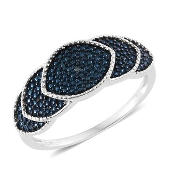 Blue Diamond (IR) Accent Blue Rhodium and Platinum Over Sterling Silver Ring