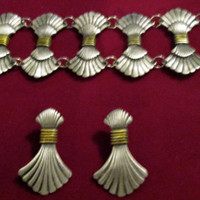 Art Deco Earrings Pierced Matching Cuff Bracelet / Stunning Set Fan Earrings Bracelet