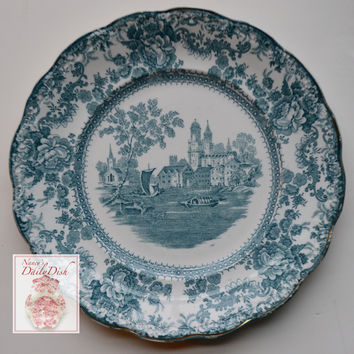 Antique Staffordshire China Teal English Transferware Dinner Plate Circa 1891 Roses Boats Church Togo