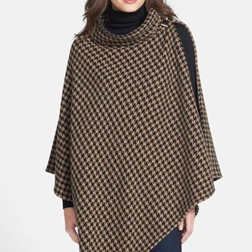 Women's BOSS Wool Blend Houndstooth Poncho - Black