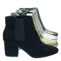 Upscale04 Black Suede Chunky Block Heel Chelsea Ankle Bootie w Side Elastic, F-Suede Lining