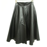 SETWIGG Spring Synthetic Leather Midi Skirts 63cm Women's Street Fashion Black Burgundy PU Leather Knee Length Flare Punk Skirt
