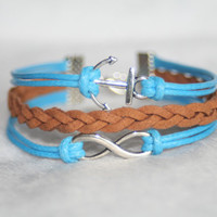 Bracelet-Infinity karma bracelet-Anchor bracelet- Gift for girfriend for friends cute pretty blue strings coffee knitting
