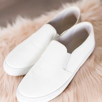 White Textured Slip-On Sneakers
