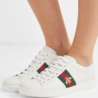 GUCCI Ace embroidered leather collapsible-heel sneakers