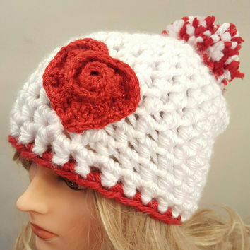 Valentine pom pom chunky white hat, with red heart. Made by Bead Gs on ETSY. Chunky skull hat.