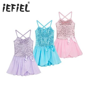 2017 Kids Girls Sequined Flower Dress Dancewear Gymnastic Ballet Leotard Tutu Dress Sleeveless Ballerina Fairy Prom Costume