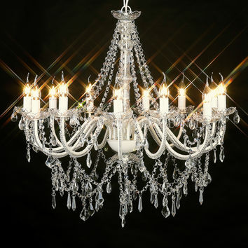 Large 12 Light Stunning Glass Crystal Chandelier - Cassie