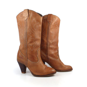 Cowboy Boots Vintage 1970s Stacked Heel Riding Carmel Brown Women's size 5