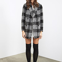 FOREVER 21 Glen Plaid Peacoat Black/Cream