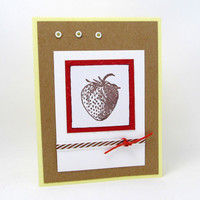 Strawberry Card - Any Occasion - Hand Stamped - Red Accents - Blank Card - Kraft Paper - Striped Ribbon - Rustic - Summer