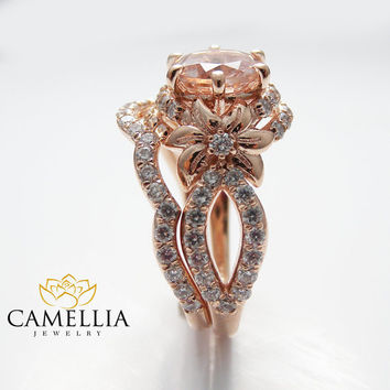 Rose Gold Diamond Bridal Ring Set Unique Morganite Bridal Ring Set 14K Rose Gold Flower Engagement Ring Set