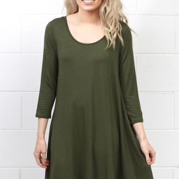 Long Sleeve Loose Fit Swing Dress w/ Pockets {Olive}
