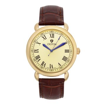 Croton Mens Stainless steel Goldtone Leather Strap Watch
