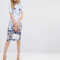 ASOS Wiggle Dress in Border Floral at asos.com