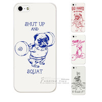 New Arrival Fashion Weightlifting dog Design Hard Plastic Protective Case Cover For Apple iPhone 4 4S 5 5S SE 5C 6 6S 7 Plus