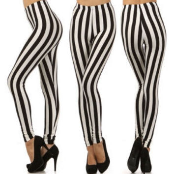 Black and white vertical stripes leggings SM    ML by ROKOUTLOUD