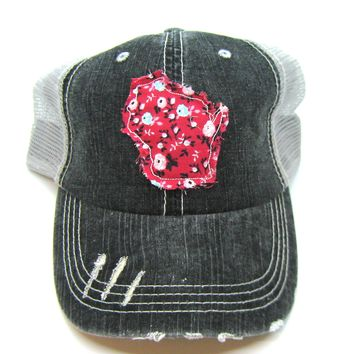 Black and Gray Distressed Trucker Hat - Red Floral Applique - Wisconsin - All United States Available