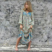 Dreamy Oasis Boho Maxi Dress V-Neck with Tassel Hippie chic Beach Dresses Elastic Cuff Casual Dress Women Vestidos