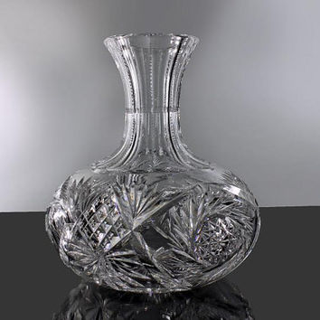 Crystal, Cut Glass Decanter, Pinwheel Pattern, Leaded Crystal, Deep Cut, Antique