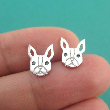 French Bulldog Frenchie Face Shaped Stud Earrings in Silver