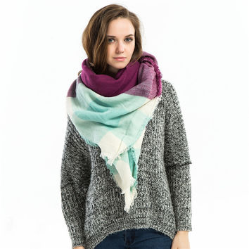 Winter 6-color Geometric Cashmere Scarf [9572851727]