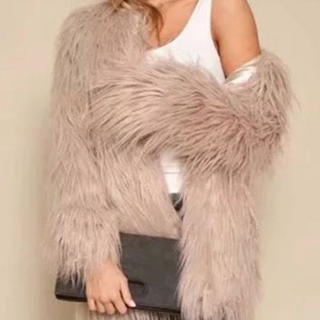 New Pink V-neck Long Sleeve Fashion Faux Fur Coat