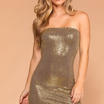 Shimmer Shimmer Gold Bodycon Dress