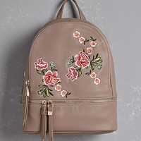 Floral Embroidered Mini Backpack