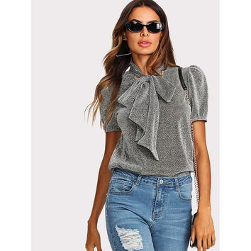Tie Neck Puff Sleeve Glitter Top Silver