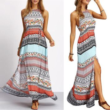 Vintage Ethnic Style Maxi Dress Sexy Casual Beach Party Dresses