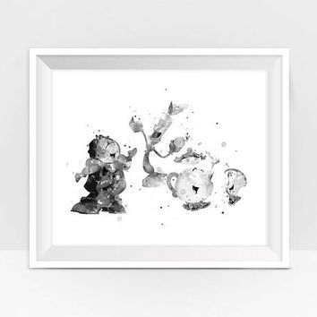 Beauty and the Beast Lumiere Cogsworth Black and White Art Print Beauty Beast Party Belle Disney Nursery Wall Decor Digital Download