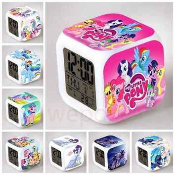 My Little Pony Friendship Is Magic LED Digital Alarm clock 7color Change Flash Rainbow Dash Pinkie Pie Pony Unicorn Reloj kids