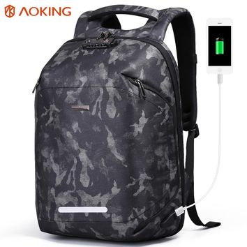 Aoking 2018 Men Backpack USB Charging TSA Lock Large Travel Backpack Luggage Male Waterproof Camouflage Daypack for 15.6 laptop