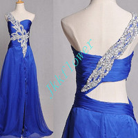 Long Royal Blue Backless Prom Dresses 2015,Stunning Beaded Crystal Prom Dresses,Formal Party Evening Dresses,Homecoming Dresses