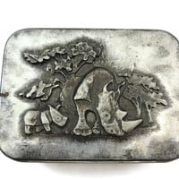 Rhino Trinket Box - Metzke Pewter Top, Tin Box, African Scene