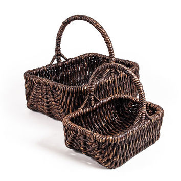 New Rustics Furniture Company PRWHB2 Patina Rectangular Water Hyacinth Basket Set of Two