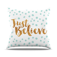 "Nick Atkinson ""Just Believe"" White Gold Outdoor Throw Pillow"