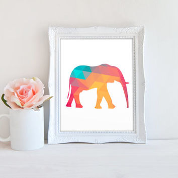Geometric Shape Elephant Printable Sign, Polygon Animal Digital Wall Art Template, Instant Download, Customizable 8x10
