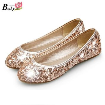 Rounted Toe Women's Flats New Fashion Sequined Women's Shoes Slip On Work Shoes Big Si