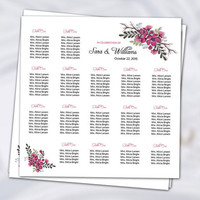 Wedding Seating Chart Poster Template | Printable Seating Plan, Seating chart Sign, Seating Board | Editable Ms word template | SC-040