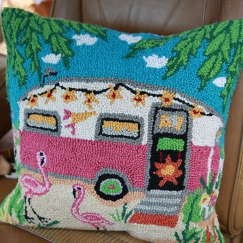 pink camper hooked pillow