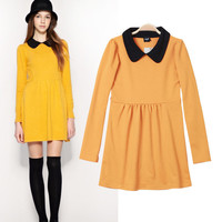 Long Sleeve Peter Pan Collar High Waist A-Line Pleated Mini Dress