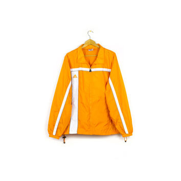 ADIDAS orange & white windbreaker / track jacket / mens large