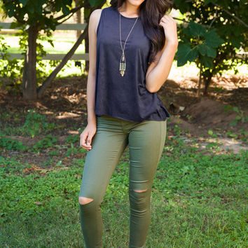 Corey Distressed Skinny Jeans - Olive