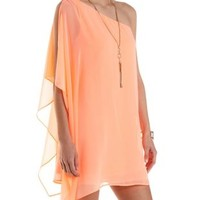 One Shoulder Chiffon Shift Dress by Charlotte Russe