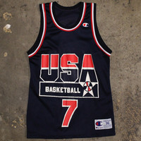 Shawn Kemp USA Dream Team I Basketball Jersey Navy (Size 36 / Small)