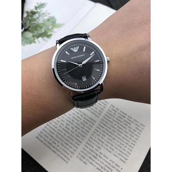 DCCK A0027 Armani Emporio Lovers Leather Watchaband Watches Black