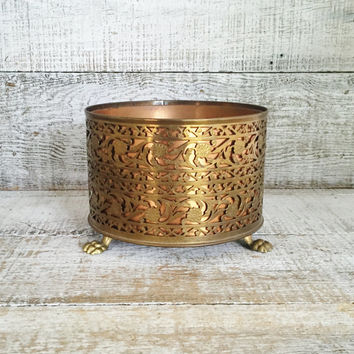 Brass Planter Copper Planter Vintage Ornate Brass Bowl Small Planter Garden Container Brass Succulent Planter Copper Pot Gold Planter
